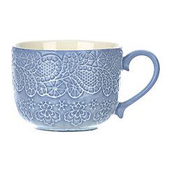Embossed Paisley Blue Mug
