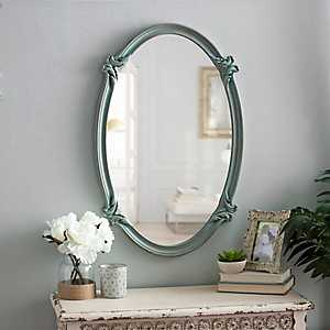 Blue Victorian Oval Mirror