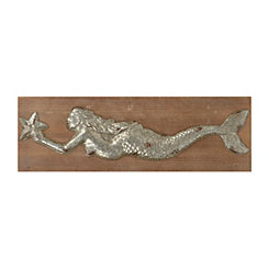 Silver Mermaid Wood Wall Plaque