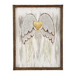 Golden Heart with Angel Wall Plaque