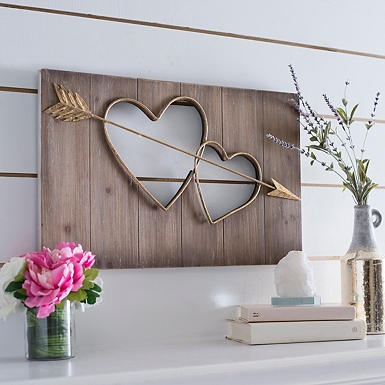 two hearts cutout wall plaque - Valentines Day Decor