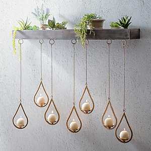 Wooden Ledge Hanging Teardrop Candle Holder