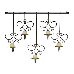Dropping Candle Scrolled Metal Sconce