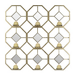 Geometric Gold Mirror Multi-Candle Sconce