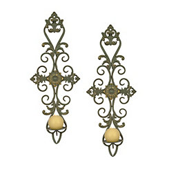 Green Scrolled Cottage Sconces, Set of 2
