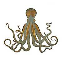 Distressed Metal Octopus Wall Plaque