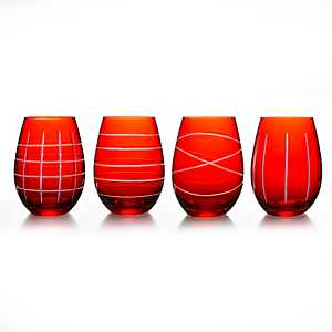 Red Medallion Stemless Wine Glasses, Set of 4