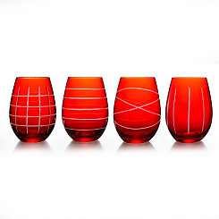 Red Medallion Stemless Wine Glasses, Set of 4