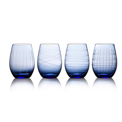 Blue Medallion Stemless Wine Glasses, Set of 4
