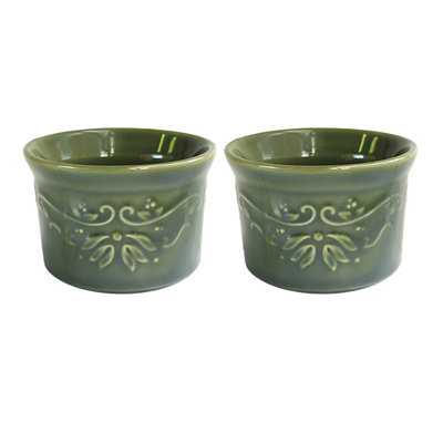 Green Bargello Ramekins, Set of 2
