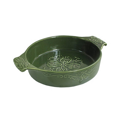 Green Bargello Oval Baking Dish
