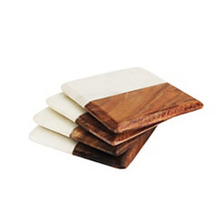 White Marble and Dark Wood Coasters, Set of 4