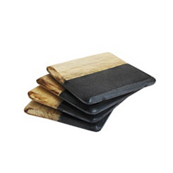 Black Marble and Light Wood Coasters, Set of 4