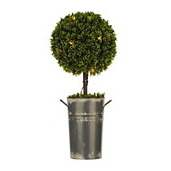 Pre-Lit Boxwood Metal Bucket Topiary