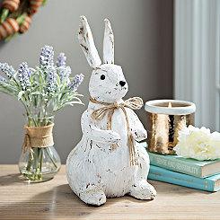 Distressed White Veneer Bunny Statue