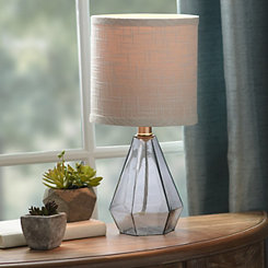 Geometric Gray Glass Table Lamp