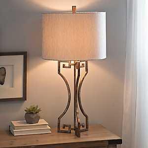 Gold Metal Greek Key Table Lamp