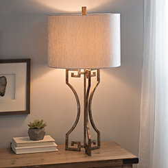 Gold Metal Greek Key Table Lamp