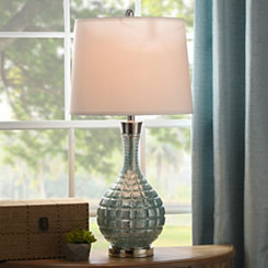 Dusty Blue Grid Glass Table Lamp