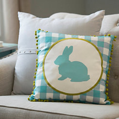 Blue Gingham Pom Pom Bunny Pillow