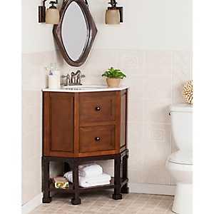 Marble Ammersee Corner Bath Vanity Sink, 32 in.
