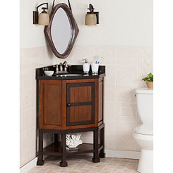 Granite Alpsee Corner Bath Vanity Sink, 32 in.