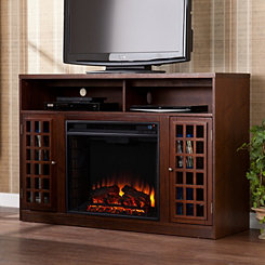 Espresso Altman Electric Fireplace Media Cabinet