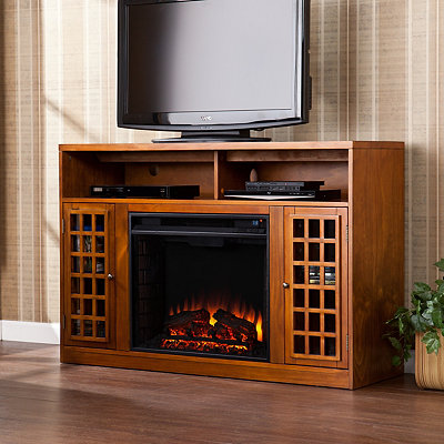 Pine Altman Electric Fireplace Media Cabinet