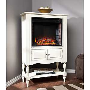 Antique White Logasa Tower Fireplace Cabinet