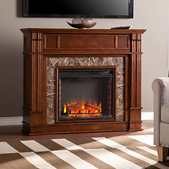 Whiskey Maple Faux Stone Electric Fireplace
