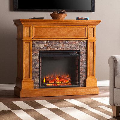 Passantino Faux Stone Electric Fireplace