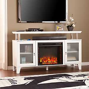 White Nevelson Fireplace Entertainment Center