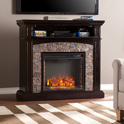 Ebony Horkay Faux Stone Electric Fireplace