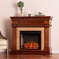 Oak Saddle Faux Stone Electric Fireplace
