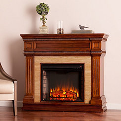 Oak Saddle Faux Stone Electric Fireplace