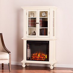 Antique White Gerzo Fireplace Curio Cabinet