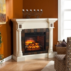 Salvador Ivory Faux Stone Infrared Fireplace