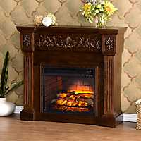 Espresso Cassatt Carved Infrared Fireplace