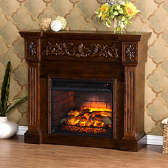 Espresso Cassatt Carved Infrared Fireplace