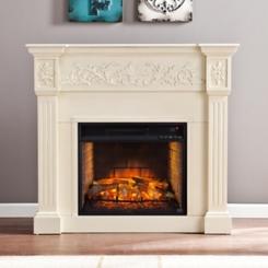 Ivory Cassatt Carved Infrared Fireplace