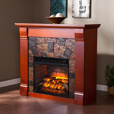Mahogany Flemish Infrared Fireplace