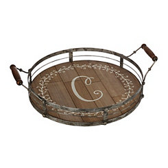 Round Metal and Wood Monogram C Laurel Tray
