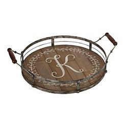 Round Metal and Wood Monogram K Laurel Tray