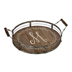 Round Metal and Wood Monogram M Laurel Tray