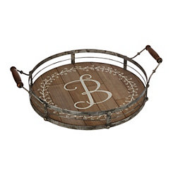 Round Metal and Wood Monogram B Laurel Tray