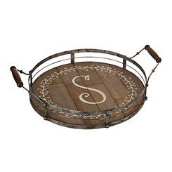 Round Metal and Wood Monogram S Laurel Tray