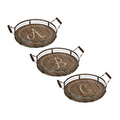 Round Metal and Wood Monogram Laurel Trays