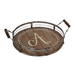 Round Metal and Wood Monogram A Laurel Tray