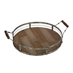Round Metal and Wood Slat Tray