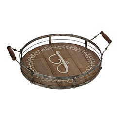 Round Metal and Wood Monogram J Laurel Tray